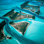 View of the Exuma Cays islands on the Bahama Bank