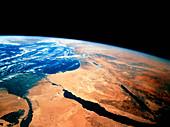 Nile delta & Sinai peninsula as seen from Shuttle