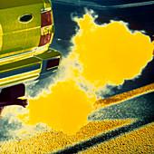 False-colour photo of car exhaust fumes
