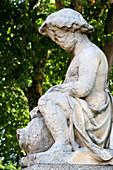 Stone statue damaged by acid rain