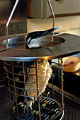 Oiled seabird in washing cage