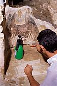 Medieval fresco restoration
