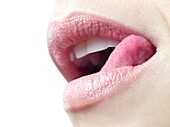 Woman licking her lips