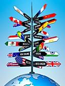 International travel,conceptual artwork