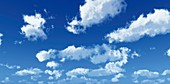Blue sky with clouds,artwork