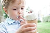 Boy eating an ice cream