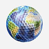 Golf ball Earth,artwork