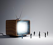 Television and figures,artwork