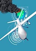 Drone,conflict concept,artwork