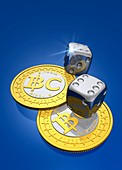 Bitcoins and dice,artwork