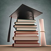 Mortar board on a stack of books,artwork