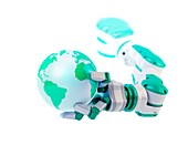 Robotic hand holding a globe,artwork