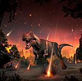 Tyrannosaurs fleeing a hail of meteorites