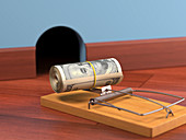 Mouse trap with bank notes,illustration