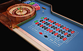 Roulette table and wheel,illustration
