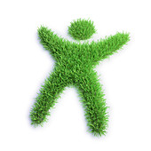 Grass in the shape of a person