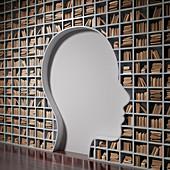 Bookshelf with the shape of human head
