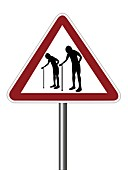 Warning sign with elderly people symbol