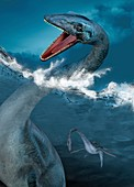 Prehistoric sea creatures,illustration