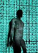 Person with binary code,illustration