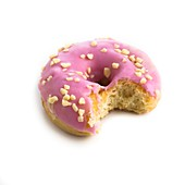 Pink doughnut with missing bite