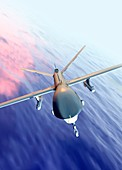 Drone flying over the ocean,illustration