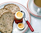 View of a healthy breakfast of egg,bread and tea