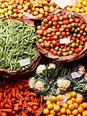 Fruit and vegetables in a market