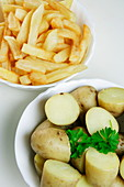 Bowls of chips and new potatoes