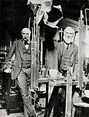 Portrait of physicists Lord Rayleigh and Kelvin