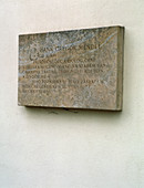 Plaque commemorating Gregor Mendel