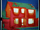 Thermogram of heat over domestic house