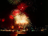 Aerial firework display over Tower Bridge,London