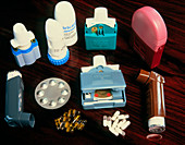 Assorted inhalers and drugs for asthma
