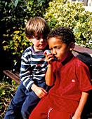 5 year old boy using an aerosol inhaler for asthma