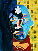 Abstract artwork of man depicting mental illness