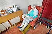 Elderly woman with a broken leg