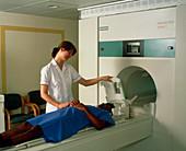 Preparation for MRI brain scan