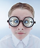 Child wearing spectacles