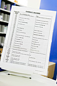 Hospital pharmacy delivery timetable