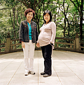 Pregnant woman with her mother