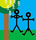 Parents and babies,conceptual artwork
