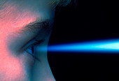 Vision: blue light entering the eye of a child