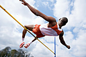 Athlete performing a high jump