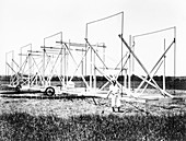 Karl Jansky and his radio antenna,1930s