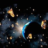 Comet or asteroid debris,artwork