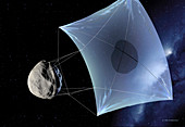 Asteroid deflection,solar sail