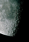 Amateur telescope photo of southern part of moon