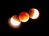 Time-lapse photograph of partial lunar eclipse