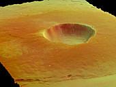 Martian caldera dust fall